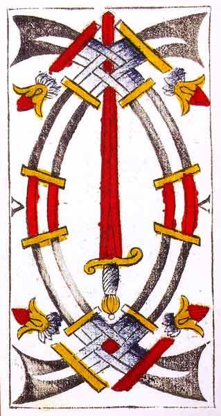Carta de Tarot de Marsella Pierre Madenié V Espadas en marifranstarot.com