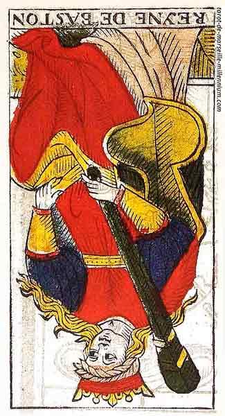 Carta de Tarot de Marsella Pierre Madenié Reina de Bastos (invertida) en marifranstarot.com