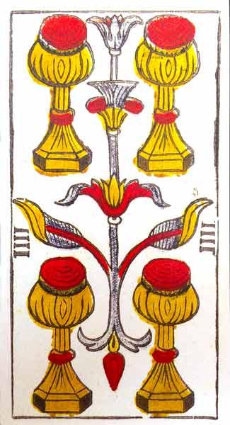 Carta de Tarot de Marsella Pierre Madenié Cuatro de Copas en marifranstarot.com