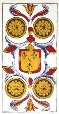 Carta de Tarot de Marsella Pierre Madenié Cuatro de Oros Tarot terapéutico Tarot evolutivo en marifranstarot.com