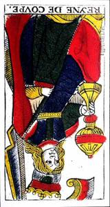Carta de Tarot de Marsella Pierre Madenié Reina de Copas (invertida) Tarot evolutivo tarot terapéutico en marifranstarot.com