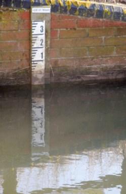 water depth scale (digital photo) © Mari French 2012