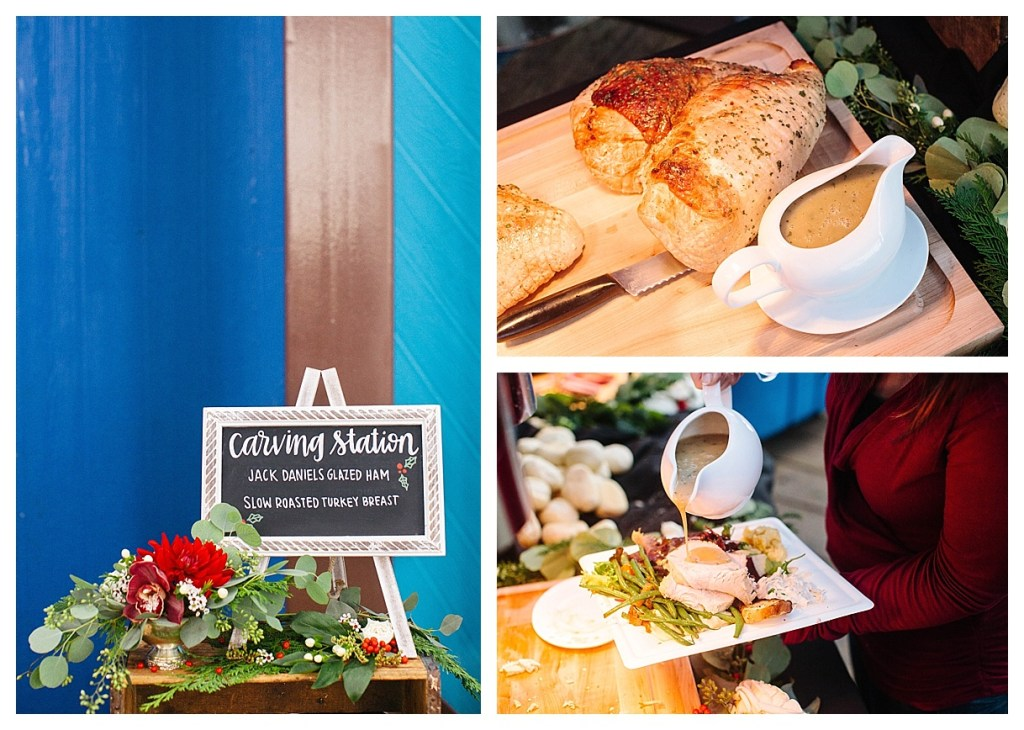 Marigold Events LA | Santa Monica Pier Holiday Party, Beautiful Carving Station, Floral Garland, Hand Lettering, Chalk Art