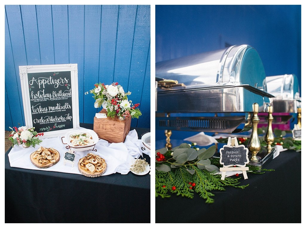 Marigold Events LA | Santa Monica Pier Holiday Party, Hand Lettering, Chafing Dish Decor