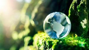 Eine Weltkugel in der Natur