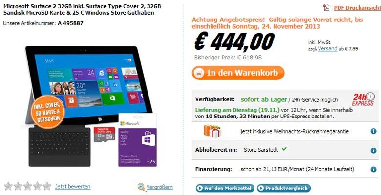 Surface 2 deutlich günstiger