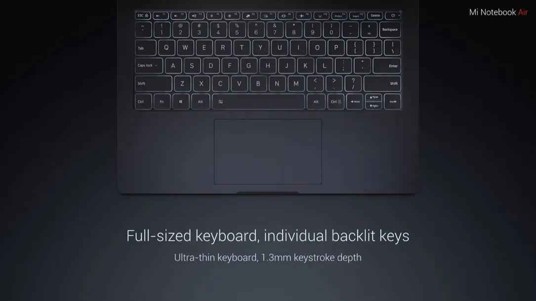 Mi Notebook Air, beleuchtete Tastatur