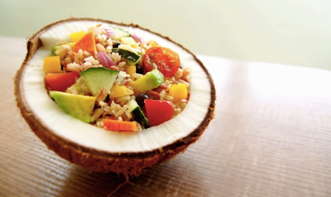 Rainbow Coconut Rice Salad