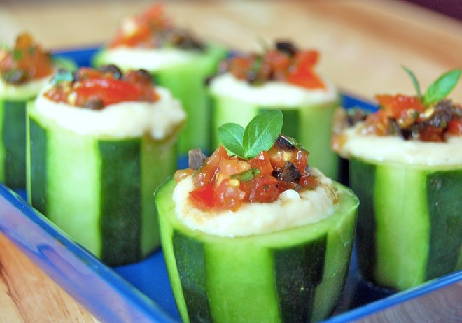 Cucumber Cups with White Bean Hummus & Olive Relish