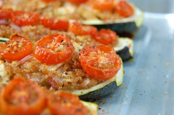 Sun Dried Tomato Pesto Zucchini Boats
