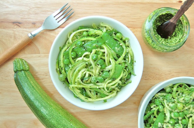 Pesto Zucchini Noodles with Green Peas and Snowpeas