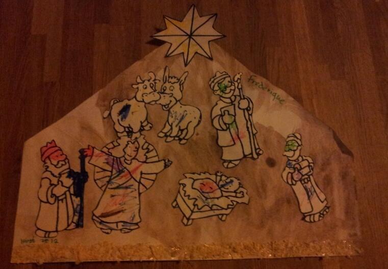 Kerststal, tweedimensionaal