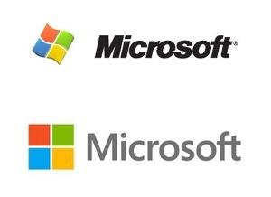 Windows-7-logo en oude Microsoftlogo gestreken tot het nieuwe Microsoftlogo