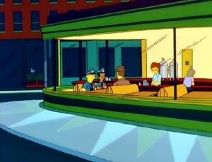 The Simpsons in de bar uit Nighthawks van Edward Hopper