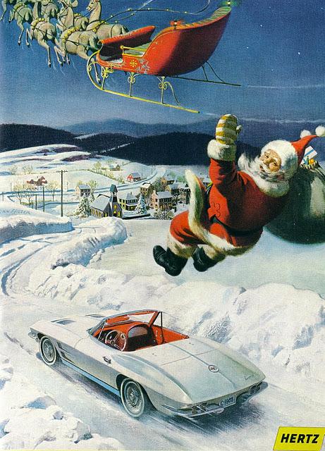Kerstman ruilt slee in voor auto - Hertz
