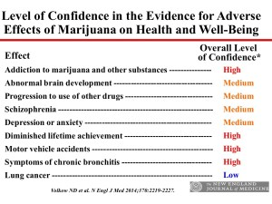 Levels of confidence in the evidence for adverse health effects of marijuana use