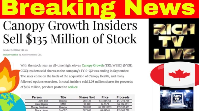 Canopy Growth Nyse Cgc Tsx Weed Insiders Sell 135 Million Of