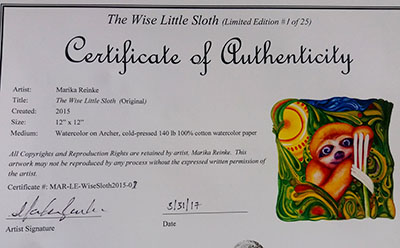 A Wise Little Sloth Certificate of Authenticity