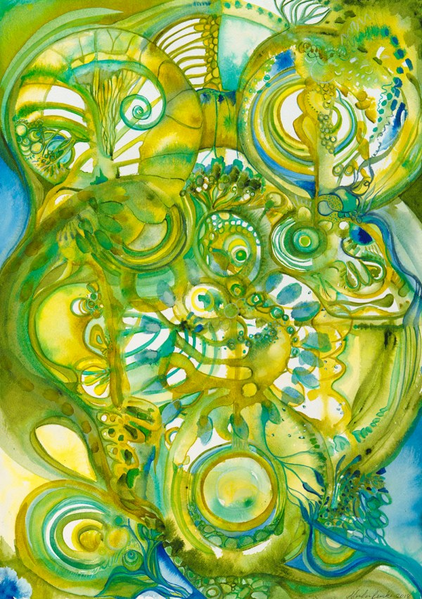 "Lizard Brain Watercolor 14"" x 20"" (c) Mairka Reinke"