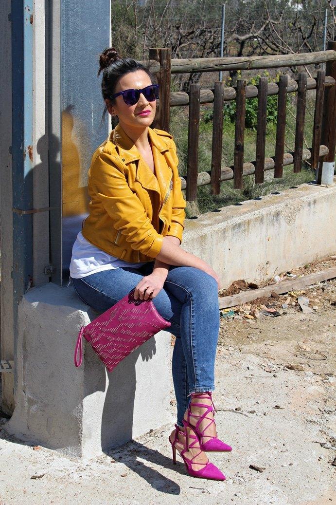 marikowskaya street style Carmen biker amarilla Zara (1)
