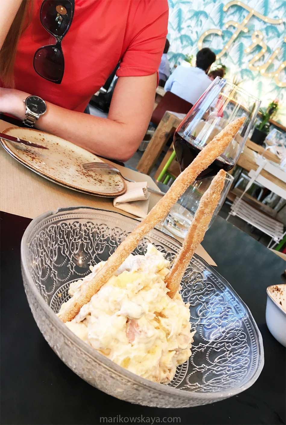 madrid nyx gran vía - restaurante frida ensaladilla