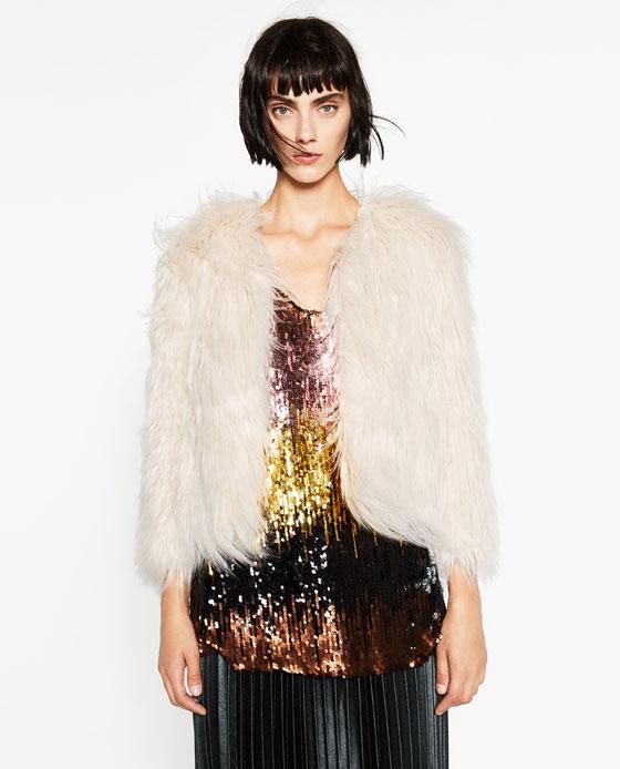 Abrigo corto de pelo Zara