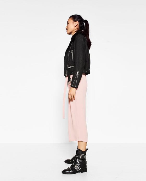 Pantalón culotte rosa Zara