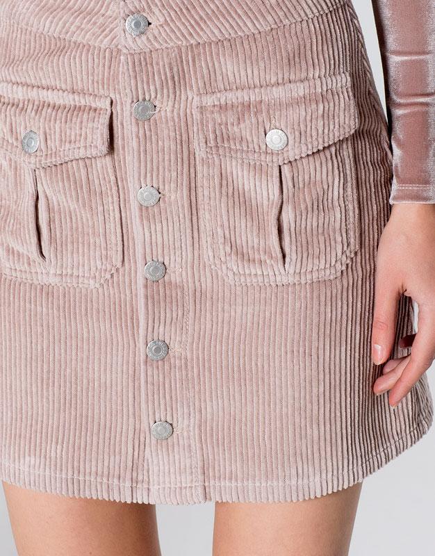 Falda de pana rosa Pull and Bear