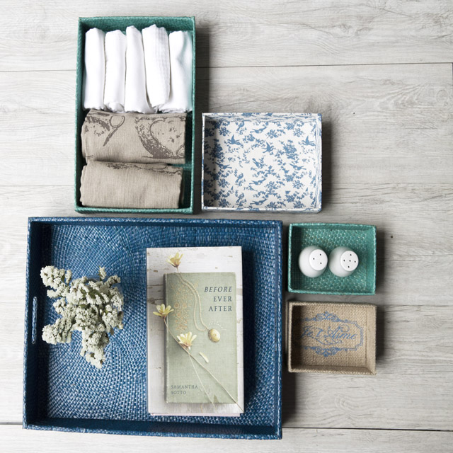 This multi purpose tray set from mydomesticity come in various shapes and make organizing pretty.