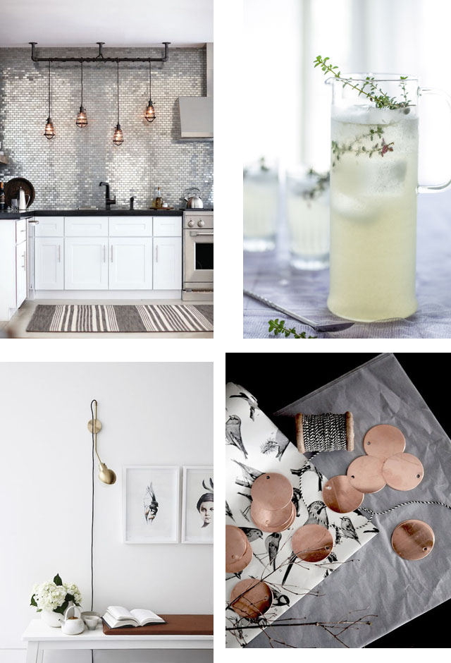 Photo Credits from Top to Bottom, Left to Right: A stunning kitchen with metallic subway tiles found on Bloglovin.com, a cold pretty glass of thyme and lemonade juice found on ohthelovelythings.com, a beautiful vintage floor lamp from seaofgirasolesblogspot.dk, and these gorgeous copper discs