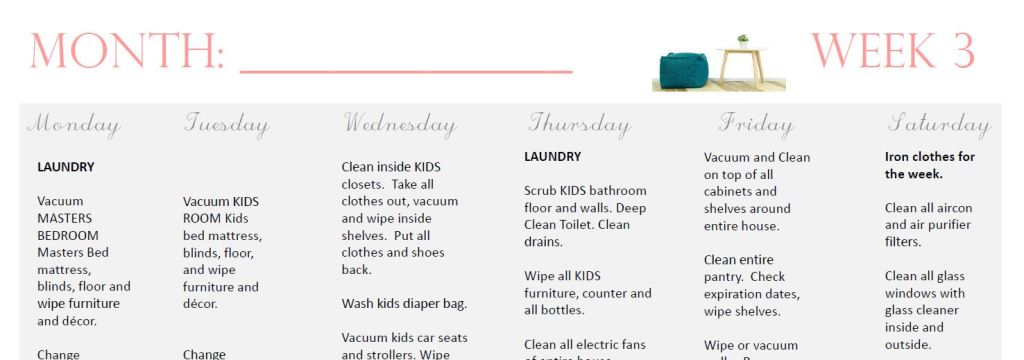 the ultimate monthly cleaning schedule printable marilenstyles com