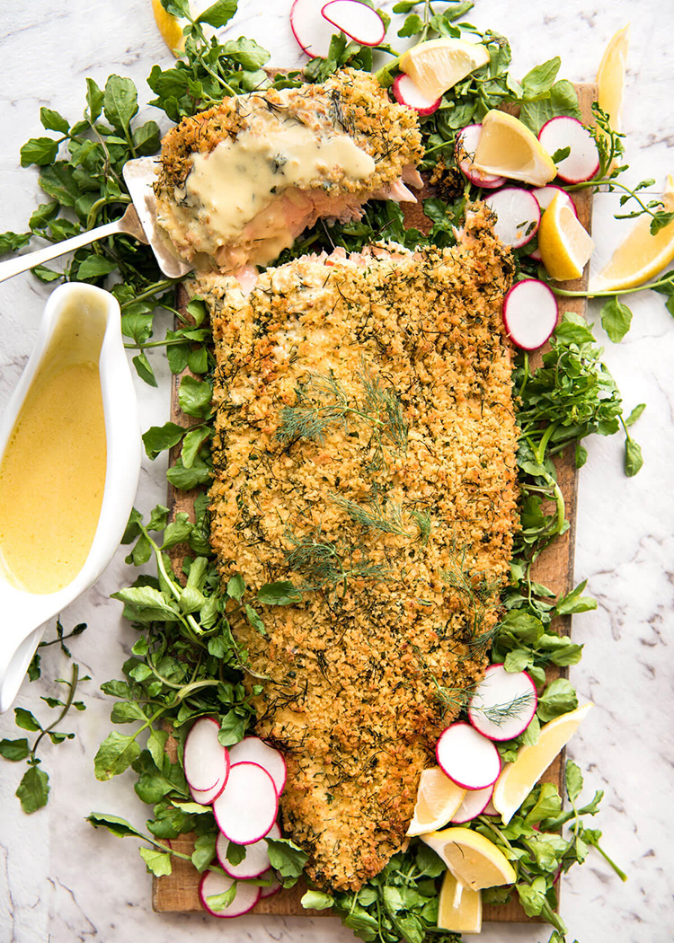 Christmas dinner menu ideas for Parmesan crusted fish