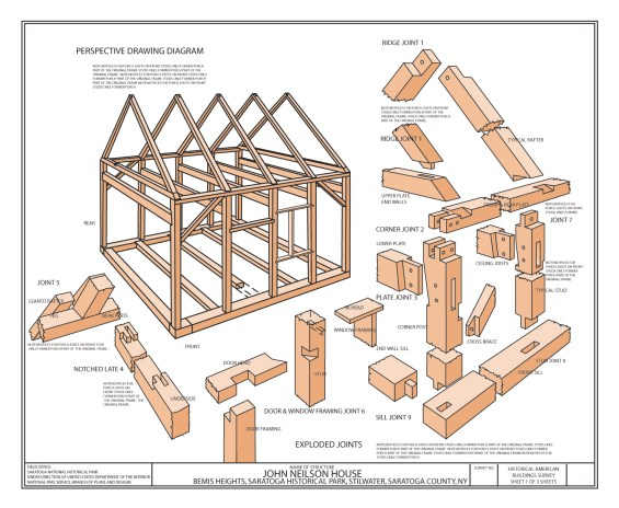 Timber Construction Illustrations - Blueprint