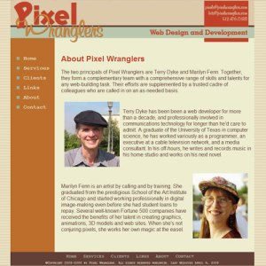Pixel  Wranglers website, version 1