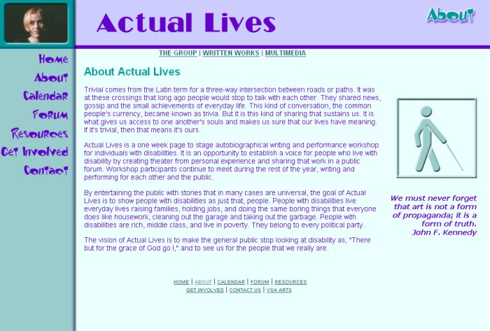 Actual Lives Website
