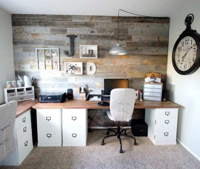 A Farmhouse Inspired Office For Two