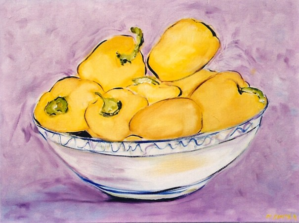 Bowl of Golden Yellow Peppers 20x24
