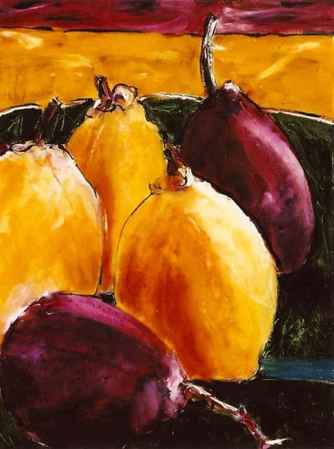 Burgandy and Golden Pears 18x24