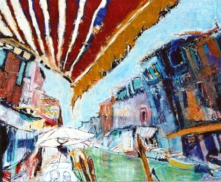 Cafe Along the Venetian Canals 30x36