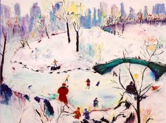 Central Park Skaters-tribute to Agnes Tait 30x40
