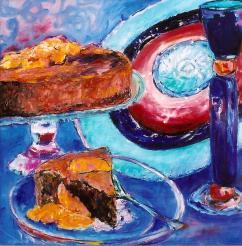Chocolate Cake and Wine 18x18