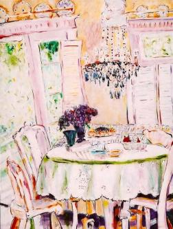 Dining under the Blue Chandelier 30x40