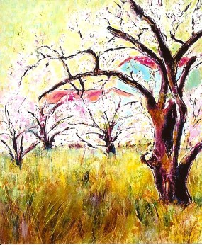 Farmhouse with Blossoming Orchard 20x24
