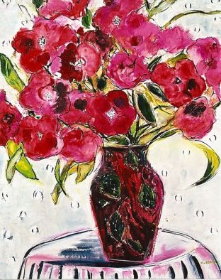 Red Vase in Bloom 24x30