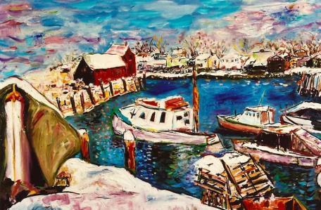 Snowy Harbor, Rockport 24x28