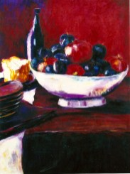 Still Life with Pomegranates and Plums 30x40