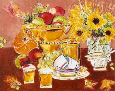 Still Life with Sunflowers and Bowl of Apples 24x30