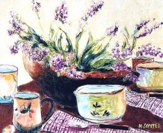 Still Life with Wooden Bowl with Blooms, 20x24