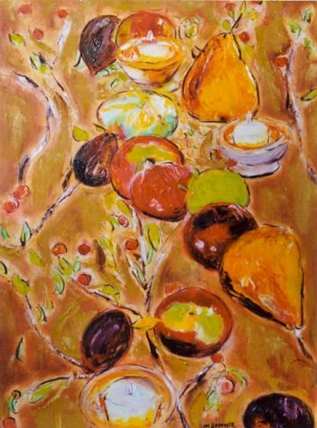 Still life with Candles, Pears, Figs and Apples 20x24
