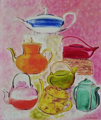 Teapots with Sugar Cubes 24x30